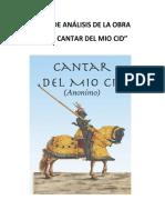 ANÁLISIS DE LA OBRA EL CANTAR DEL MIO CID