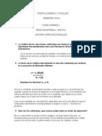 Tarea Núm 3 de Cinética Quimica y Catalisis
