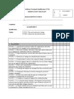 Observation Checklist  PLAN & CHANGE