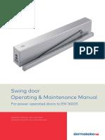 dormakaba automatic swing-door operating maintenance manual