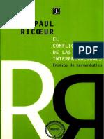 Ricoeur, Paul. - El Conflicto de Las Interpretaciones. Ensayos de Hermeneutica [2003]