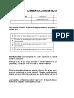 FORMATO IDENTIFICACIÓN DE ESTILOS DE APRENDIZAJE