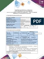 Guía de actividades y rúbrica de evaluación - Paso 2 - Lenguaje algebraico y Pensamiento Funcional