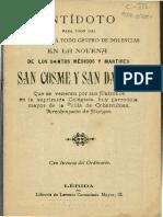 Antidoto Para Todo Mal y Dolencias Novena a San Cosme y San Damian