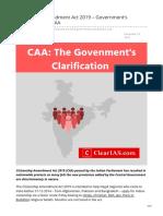 clearias.com-Citizenship Amendment Act 2019  Governments Clarification on CAA