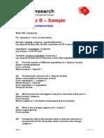 SQL Quiz Sample - B