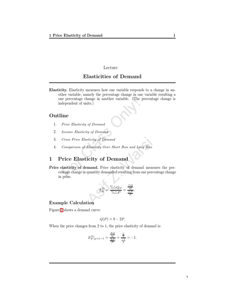 Lecture Notes Elasticity Demand Elasticity Economics