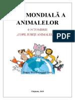 Ziua mondiala a animalelor TVC Proiect didactic