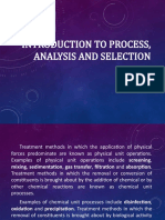 Process, analysis and selection
