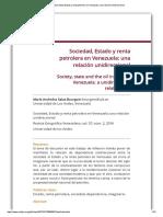 Sociedad, Estado y renta petrolera en Venezuela_ una relación unidireccional