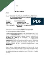 CARTA TERMINACION CONTRATO SALUD TOTAL SA EPS