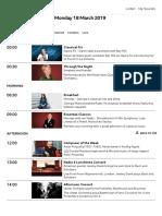 BBC Radio 3 - Schedules, 18 Monday March 2019