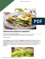 Alimentos que mejoran la coagulación
