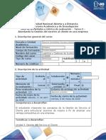 Guía de actividades y rúbrica de evaluación – Tarea 3 – Abordando la Gestión del servicio al cliente en una empresa