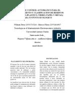 SISTEMA DE CONTROL AUTOMATICO PARA EL RECONOCIEMIENTO Y CLASIFICACION DE RESIDUOS RECICLABLES