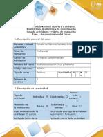 Guía de actividades y rúbrica de evaluación - Fase 1 - Reconocimiento del curso.