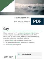 Say, tell, speak, talk