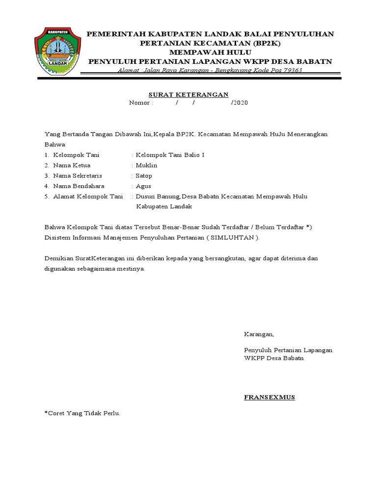Pemerintah Kabupaten Landak Balai Penyuluhan Pertanian Kecamatan Bp2k Mempawah Hulu Penyuluh Pertanian Lapangan Wkpp Desa Babatn