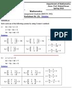 Worksheet 5 - Solution