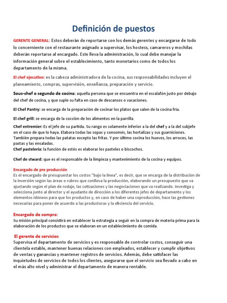Definicion de los diferentes encargados de cocina for Definicion de gastronomia pdf