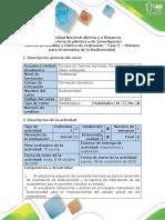Guía de actividades y rúbrica de evaluación - Fase 3- Métodos para Inventarios de Biodiversidad