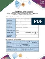 Guía de actividades y rúbrica de evaluación - Paso 3 - Narración digital acerca de Estadística y Probabilidad.docx