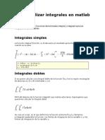 Como realizar integrales en matlab
