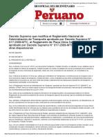 El Peruano - Decreto Supremo que modifica el Reglamento Nacional de Administración de