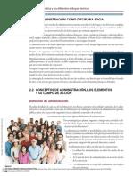 Concepto de administracion, y sus elementos en campo de Accion