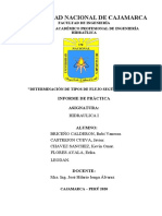 DETERMINACION DE TIPO DE FLUJO SEGUN REYNOLDS