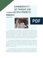 DIMENSIONAMIENTO Y DISEÑO DE TANQUE SUB
