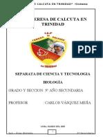 BIOLOGIA 3° AÑO