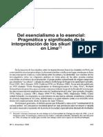 Del esencialismo a lo esencial Pragmática y significado de la interpretación Turino