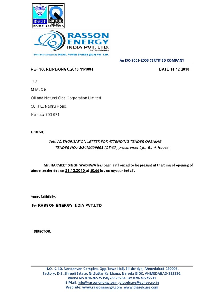 AUTHORIZATION LETTER Authority Letter For Attending Tender
