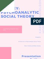 KAREN HORNEY psychoanalytic social theory