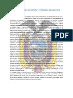 ACTUALIDAD POLITICA, SOCIAL Y ECÓNOMICA DEL ECUADOR
