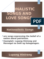 NATIONALISTIC SONGS AND LOVE SONGS