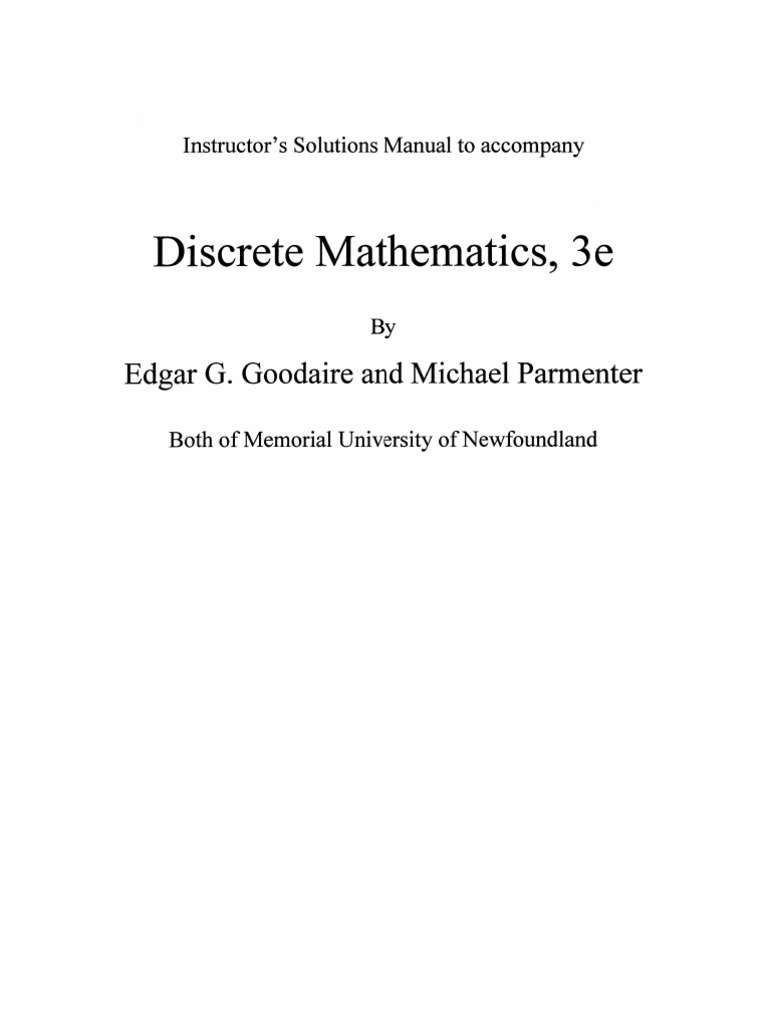 Discrete mathematics with graph theory (2nd edition): edgar g.