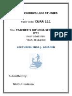 Assignment curriculum studies