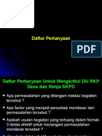Daftar Pertanyaan Klinis Desa-UPTD