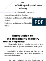 SEM 1 - Unit I - Introduction to Hospitality and Hotel Industry