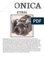 Bronica ETR-Si Medium Format Film Camera Owners Manual