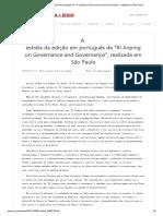 A estréia da edição em português de _Xi Jinping on Governance and Governance_, realizada em São Paulo