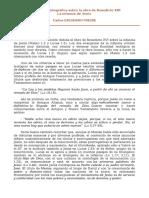 Recensión bibliográfica sobre la obra de Benedicto XVI