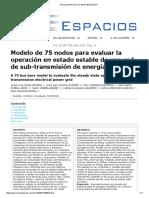 Modelo de 75 nodos para evaluar la operación en estado estable de una red de sub-transmisión de energía eléctrica
