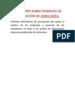 DEFINICIÓN SOBRE RÚBRICAS DE EVALUACIÓN DE JORDI ADELL