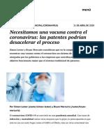 Necesitamos una vacuna contra el coronavirus- las patentes podrían desacelerar el proceso | elcato.org
