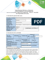 Guia de actividades y rubrica de evaluación - Tarea 2 - Describir las propiedades del suelo movimiento de contaminantes