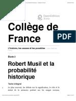 Robert Musil et la probabilité historique