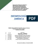 trabajo DEONTOLOGÍA JURÍDICA PRIMERA EVALUACIÓN L II